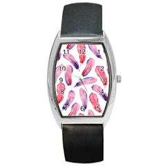 Watercolor Pattern With Feathers Barrel Style Metal Watch