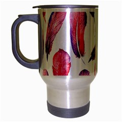 Watercolor Pattern With Feathers Travel Mug (silver Gray)