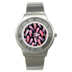 Watercolor Pattern With Feathers Stainless Steel Watch