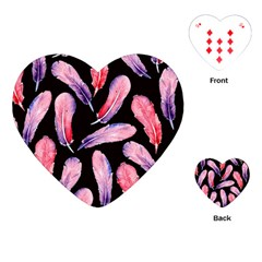 Watercolor Pattern With Feathers Playing Cards (heart)
