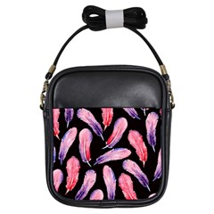 Watercolor Pattern With Feathers Girls Sling Bags
