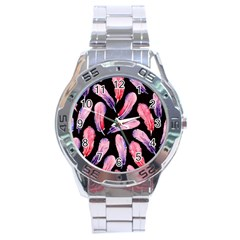 Watercolor Pattern With Feathers Stainless Steel Analogue Watch