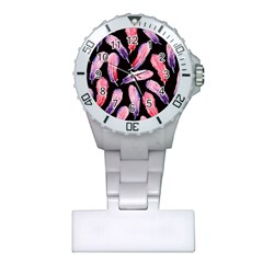 Watercolor Pattern With Feathers Plastic Nurses Watch