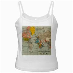 Vintage World Map White Spaghetti Tank