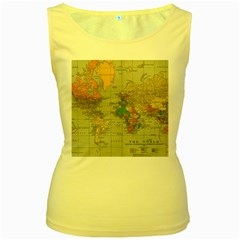 Vintage World Map Women s Yellow Tank Top