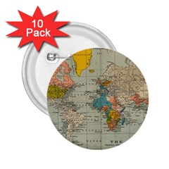 Vintage World Map 2 25  Buttons (10 Pack)