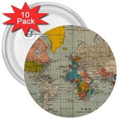 Vintage World Map 3  Buttons (10 Pack)