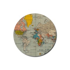 Vintage World Map Rubber Round Coaster (4 Pack)