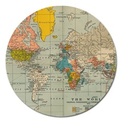 Vintage World Map Magnet 5  (round)