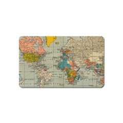 Vintage World Map Magnet (name Card)