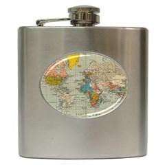 Vintage World Map Hip Flask (6 Oz)