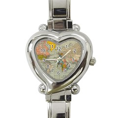 Vintage World Map Heart Italian Charm Watch