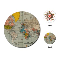 Vintage World Map Playing Cards (round)
