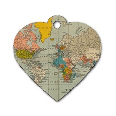 Vintage World Map Dog Tag Heart (one Side)