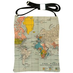 Vintage World Map Shoulder Sling Bags