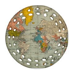 Vintage World Map Round Filigree Ornament (two Sides)