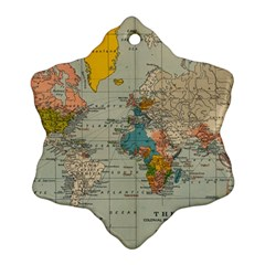 Vintage World Map Snowflake Ornament (two Sides)