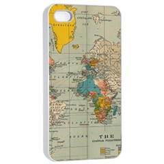 Vintage World Map Apple Iphone 4/4s Seamless Case (white)
