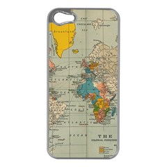 Vintage World Map Apple Iphone 5 Case (silver)