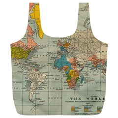 Vintage World Map Full Print Recycle Bags (l)
