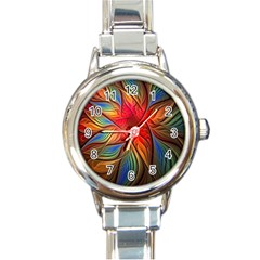 Vintage Colors Flower Petals Spiral Abstract Round Italian Charm Watch