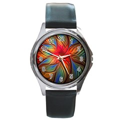 Vintage Colors Flower Petals Spiral Abstract Round Metal Watch
