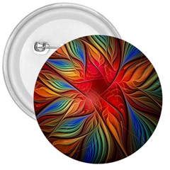 Vintage Colors Flower Petals Spiral Abstract 3  Buttons