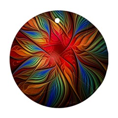Vintage Colors Flower Petals Spiral Abstract Ornament (round)