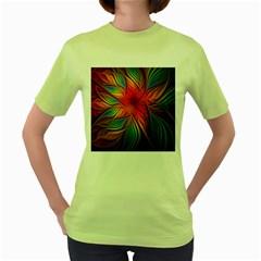 Vintage Colors Flower Petals Spiral Abstract Women s Green T Shirt