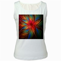 Vintage Colors Flower Petals Spiral Abstract Women s White Tank Top