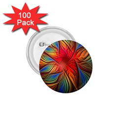 Vintage Colors Flower Petals Spiral Abstract 1 75  Buttons (100 Pack)