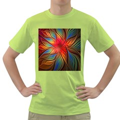 Vintage Colors Flower Petals Spiral Abstract Green T Shirt