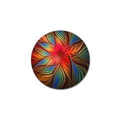 Vintage Colors Flower Petals Spiral Abstract Golf Ball Marker (4 Pack)