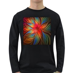 Vintage Colors Flower Petals Spiral Abstract Long Sleeve Dark T Shirts