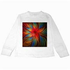 Vintage Colors Flower Petals Spiral Abstract Kids Long Sleeve T Shirts