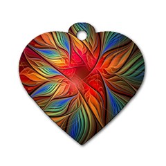 Vintage Colors Flower Petals Spiral Abstract Dog Tag Heart (one Side)