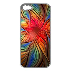 Vintage Colors Flower Petals Spiral Abstract Apple Iphone 5 Case (silver)