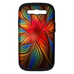 Vintage Colors Flower Petals Spiral Abstract Samsung Galaxy S Iii Hardshell Case (pc+silicone)