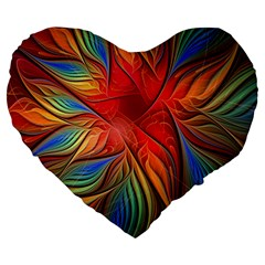 Vintage Colors Flower Petals Spiral Abstract Large 19  Premium Heart Shape Cushions