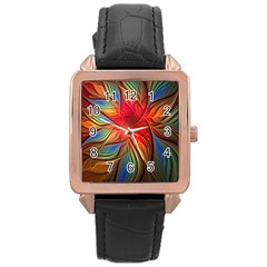 Vintage Colors Flower Petals Spiral Abstract Rose Gold Leather Watch