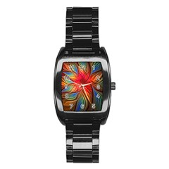 Vintage Colors Flower Petals Spiral Abstract Stainless Steel Barrel Watch