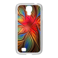 Vintage Colors Flower Petals Spiral Abstract Samsung Galaxy S4 I9500/ I9505 Case (white)