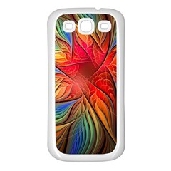 Vintage Colors Flower Petals Spiral Abstract Samsung Galaxy S3 Back Case (white)