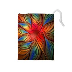 Vintage Colors Flower Petals Spiral Abstract Drawstring Pouches (medium)