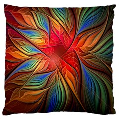 Vintage Colors Flower Petals Spiral Abstract Large Flano Cushion Case (two Sides)