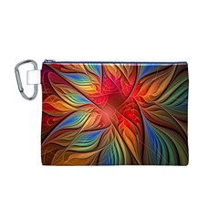 Vintage Colors Flower Petals Spiral Abstract Canvas Cosmetic Bag (m)