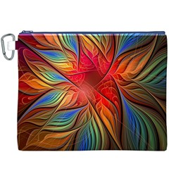 Vintage Colors Flower Petals Spiral Abstract Canvas Cosmetic Bag (xxxl)
