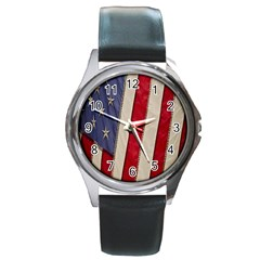 Usa Flag Round Metal Watch
