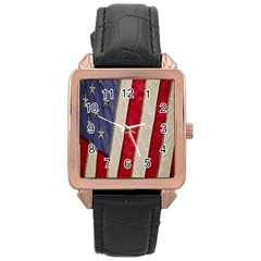 Usa Flag Rose Gold Leather Watch
