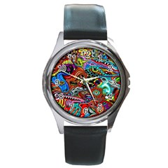 Vector Art Pattern Round Metal Watch
